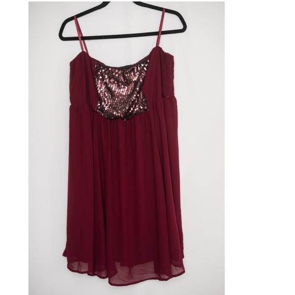 torrid Dresses & Skirts - Torrid Strapless Burgundy Chiffon Sequin Dress 2